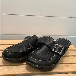Born black leather wedge mules